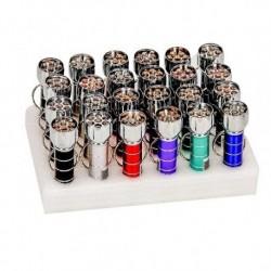 Latarka metalowa 7 LED z brelokiem - mix żywych kolorów